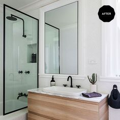 """Now, if Chloe had to pick a favourite room, she says the renovated bathroom would have to be it. """"It marries all my favourite design elements: tones, textures and clean lines."""" **Tiles** from [Surface Gallery](http://surfacegallery.com.au/?utm_campaign=supplier/ target=""""_blank"""") and black **tapware** from [Astra Walker](http://www.astrawalker.com.au/?utm_campaign=supplier/ target=""""_blank"""").: [object Object]"""