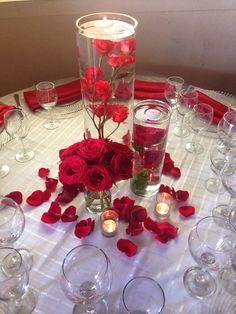 Centro de mesa rojo
