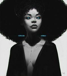 """Elite Android"", illustrated by Ekaterina Grusovskaya on Artstation.com  PLEASE NAME THE ARTIST WHEN REPOSTING THIS ART ON YOUR PAGE  #nubiamancy #afrohair #futuristic #futuristicfashion #futurist #cyborg #afrique #blackgirl #blackwomen #afrika #afrikan #scifi #scifiart #sciencefiction #sciencefictionart #afrofuturism #africa #africans #africanart #blackart #dopeart #blackwoman #transhumanism #bighair #blackgirlmagic #blackgirlsrock #naturalista #naturalistas #naturalistamancy  Nubiamancy"
