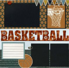 12x12 page was created using coordinating printed cardstock papers, textured cardstock, basketball photo die cut title, mini round brad, basketball die cut, banner sticker, journaling die cut, photo anchor, basketball hoop die cut, and basketball brad.  Basketball brad and photo anchor are attached in a manner so that you can easily slip your photos underneath.  Journaling die cut can be used for photo facts or additional small photo.  This scrapbook page is handmade and photo-ready. Or…