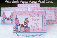 This Little Piggy (Went To Market) Turns One Birthday Party Food Label Tent Cards|Piggy Party|Pig…