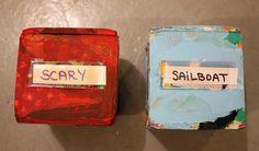 Laat leerlingen de  twee teerlingen werpen en een tekening maken op basis van de woorden.
