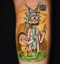 Rick and Morty tattoo by Ben Ochoa