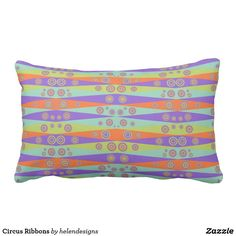 Circus Ribbons Lumbar Pillow - decor gifts diy home & living cyo giftidea Lumbar Pillow, Home Gifts, Decorative Pillows, Beach Mat, Outdoor Blanket, Cushions, Stripes, Cool Stuff, Ribbons