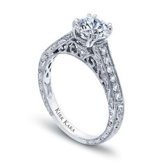 Kirk Kara handcrafted XO diamond engagement ring from the Kirk Kara XO collection crafted with 0.25 carats of diamonds