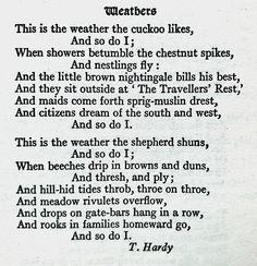 Thomas Hardy, Weathers. Reference: The Golden Treasury, Penguin Popular Classics. Editor, Francis Turner Palgrave, 1994.