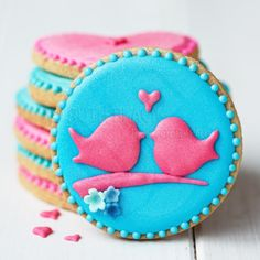 Lovebird cookies for Valentines - by Ruth Black