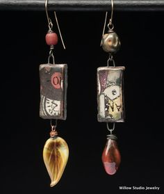 Urban Dilemmas assemblage earrings made by WillowStudioJewelry