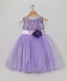 Take a look at this Lavender Sequin Sheer A-Line Dress - Infant, Toddler & Girls on zulily today!