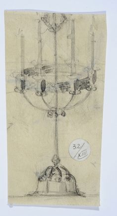 Gustav Gaudernack. Early pencil sketch of six armed silver candelabra. Around 1908. Tegning @ DigitaltMuseum.no