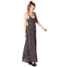 Black printed strappy maxi dress
