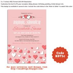 #Sweet #Love #BridalShower #Invitation Card. Can be customized for #wedding invitation, #engagement party, #babyshower, #birthdays #diy #printables