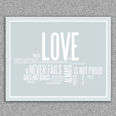 Wall art print - Love is patient, love is kind: 1 Corinthians 13 giclee art print 8x10 poster