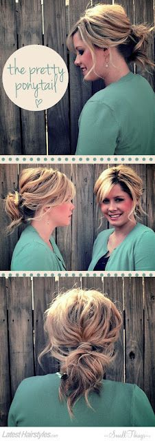 I like this one... but less of a ponytail and more of a bun!