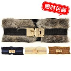 Autumn and winter luxury rabbit fur elegant rotating buckle elastic wide belt women's all-match ultra wide cummerbund $
