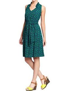 Women's Ruffle-Trim Tie-Belt Dresses | Old Navy. Bought this w a matching cardi today.