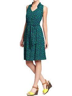 Women's Ruffle-Trim Tie-Belt Dress (Green Heart). Old Navy. $29.94