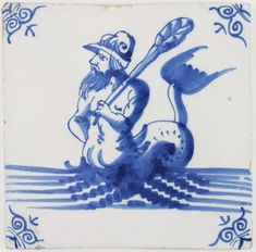 Antique Dutch Delft tile in blue with a merman wielding a club, 17th century