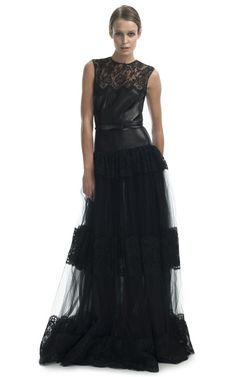 Leather Bodice with Lace, Silk Organza & Satin Gown by Valentino for Preorder on Moda Operandi 2013.