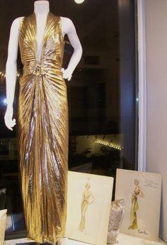 "William Travilla Gold Dress and sketches ""Gentlemen Prefer Blondes"" #marilynmonroe"
