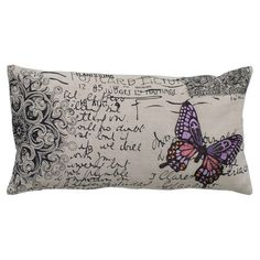 Throw pillow with a carte postale motif and embroidered butterfly.  Product: PillowConstruction Material: Cotton...