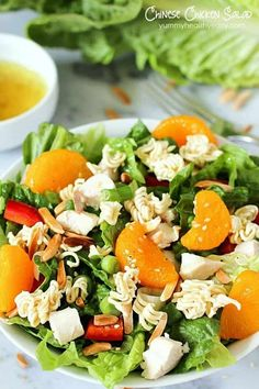 Chinese Chicken Salad is a healthy, flavorful, easy lunch or dinner salad recipe. It's easy to make but tastes like it's straight from a restaurant – this will become a favorite salad recipe at your house! Salad Recipes For Dinner, Dinner Salads, Healthy Salad Recipes, Healthy Snacks, Ramen Recipes, Potluck Recipes, Summer Recipes, Asian Recipes, Delicious Recipes