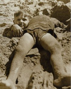 Billy and Graham Green from the Salvation Army Camp practise a little deceit, Collaroy Beach, ca. 1940 / photographer unknown by State Library of New South Wales collection, via Flickr