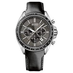 Buy Hugo Boss 1513085 Men's Driver Sport Chronograph Leather Strap Watch, Black from our Men's Accessories & Watches Offers range at John Lewis & Partners. Hugo Boss Watches, Gents Watches, Sport Watches, Hugo Boss Homme, Hugo Boss Man, Best Watches For Men, Cool Watches, Black Leather Watch, Leather Men