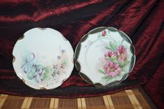 """Two Haviland France Plates Hand Painted Floral Signed & Dated 8 5/8"""" #HavilandCo"""