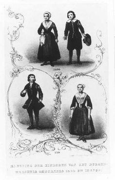 De klederdracht van de weesjongens en -meisjes in het Burgerweeshuis destijds gedragen in de jaren 1600 en 1720. C.C.A. Last (1808-1876); kleurenlitho #wezen #ZuidHolland #DenHaag #burger