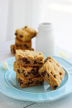Chocolate chip cookie bars-easy, yummy, and fits in a 9x13 pan (perfect if you are like me and don't have a jellyroll pan!)