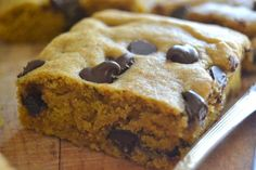 These Pumpkin Chocolate Chip Blondies look so moist and delicious! Great for a fall treat!