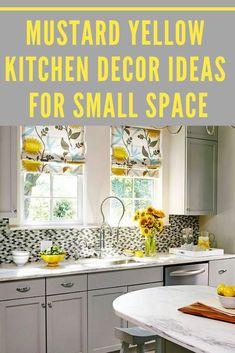 MUSTARD YELLOW KITCHEN DECOR IDEAS FOR SMALL SPACE Yellow Kitchen Curtains, Yellow Kitchen Decor, Grey Yellow Kitchen, Update Kitchen Cabinets, Contemporary Kitchen Cabinets, Kitchen Countertops, Kitchen Layout, Kitchen Design, Kitchen Ideas