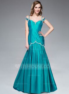 Evening Dresses - $139.99 - Trumpet/Mermaid Off-the-Shoulder Sweep Train Taffeta Evening Dress With Beading Sequins (017045183) http://jjshouse.com/Trumpet-Mermaid-Off-The-Shoulder-Sweep-Train-Taffeta-Evening-Dress-With-Beading-Sequins-017045183-g45183?pos=related_products_2