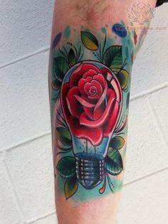 Light Bulb Rose Tattoo #tattoo #ink