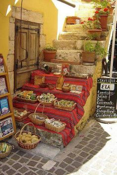 Outdoor market at the isle of Crete, Greece.
