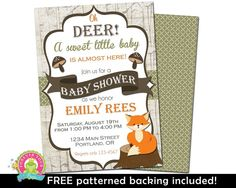 The purchase of this listing is for a single custom woodland baby shower invitation and a complimentary patterned backing, as our gift to you!