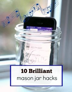 10 Mason Jar hacks you may not have heard of.did you know you can use a mason jar to turn your blender into a magic bullet? Or that you can use a jar as a makeshift iPhone speaker? Plenty more brilliant ideas! Mason Jar Projects, Mason Jar Crafts, Mason Jars, Diy Projects, Bottles And Jars, Glass Jars, Pot Mason Diy, Pots, Jar Art