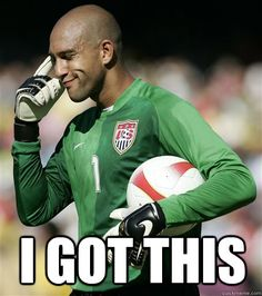 Tim Howard keepin' it cool.  (Goalkeeper for English club Everton and the United States national team)