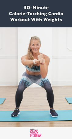 A Kickass Cardio Workout With Weights — Yeah, You're Going to Sweat! A Kickass Cardio Workout With Weights — Yeah, You're Going to Sweat! Hiit, 30 Minute Cardio Workout, Cardio Kickboxing, Fitness Workouts, You Fitness, Fun Workouts, Fitness Plan, Fitness Hacks, Cardio Workout At Home