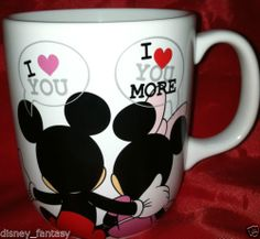 Disney MICKEY/MINNIE MOUSE-I love You/More-MUG/Cup-Couple/Heart/Anniversary Gift