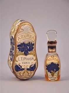 "Art Nouveau Azurea perfume bottle, created for L. Piver by perfumer Pierre Armigeant Just gorgeous - made me want to start a fragrance board. See ""Fragrant Lady"". Antique Perfume Bottles, Vintage Bottles, Art Nouveau, Objets Antiques, Perfumes Vintage, Miniature Parfum, Bottle Images, Beautiful Perfume, Glass Bottles"