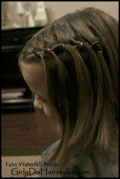 *Cute & no braiding necessary  -Girly Do's By Jenn: Faking a Waterfall Braid
