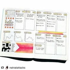 Couldn't resist sharing Natalie's  @natnatattacks awesome spread with the habit tracker that looks like a crossword!  Also love the mini graphs and colors and everything. That sunburst theme is something I can dig  #bulletjournal
