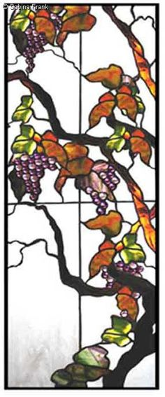 Floral Art Nouveau Stained Glass sabina frank studio Berkeley, Ca. Stained glass custom designs cabinets doors leaded panels windows Berkeley Stained
