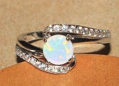 white fire opal Cz ring gemstone silver jewelry Sz 9 modern engagement design J7