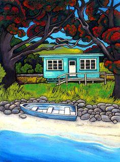 New Zealand - Wendy Leach Artist (New Zealand) New Zealand Beach, New Zealand Art, Fun Craft, Craft Ideas, New Zealand Landscape, Nz Art, Art Folder, Kiwiana, Landscape Artwork