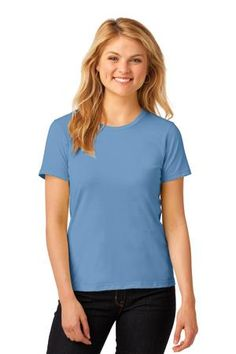 Buy the Anvil Ladies 100% Ring Spun Cotton T-Shirt Style 880 from SweatShirtStation.com, on sale now for $4.73 #anvil #tshirt #crewneck Light Blue