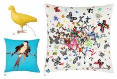Embroider butterflies on linen-