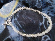 Rainbow Moonstone gemstone bracelet with sterling silver star fish charm. by InnerGems on Etsy